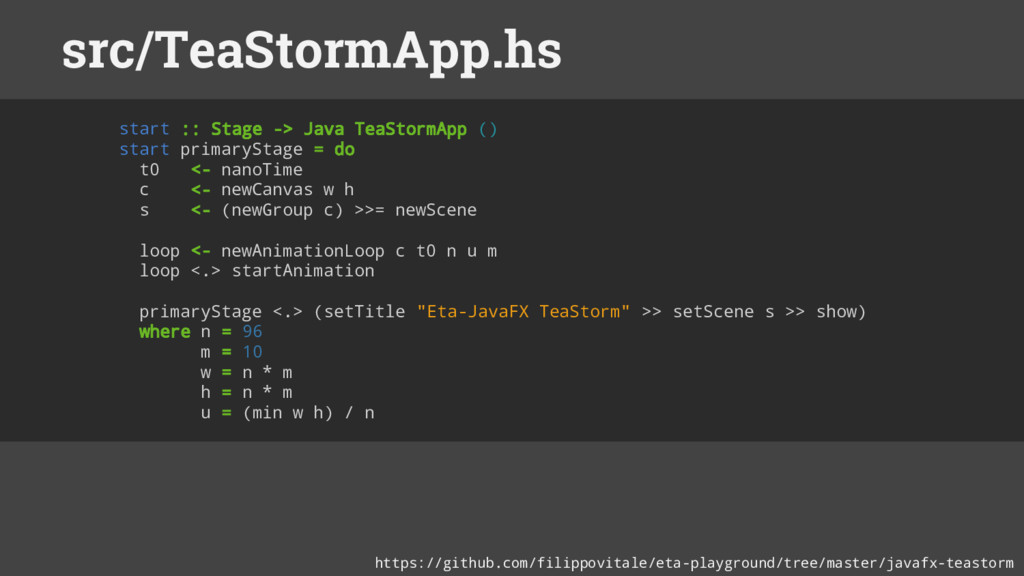 start :: Stage -> Java TeaStormApp () start pri...