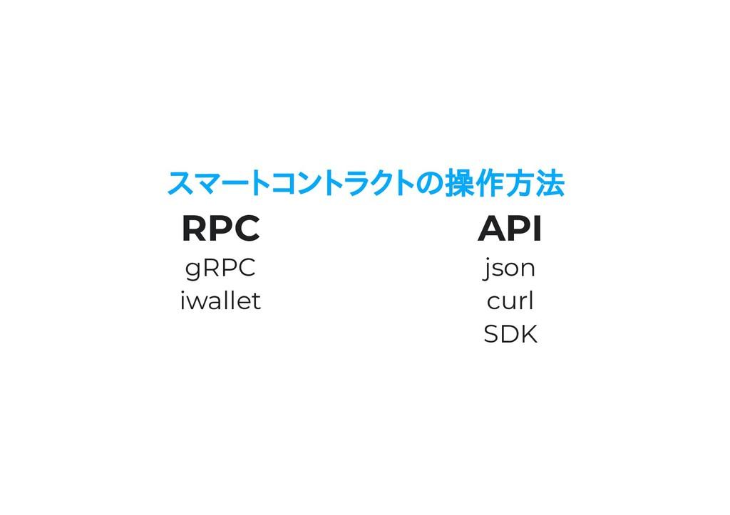 スマートコントラクトの操作方法 RPC gRPC iwallet API json curl ...