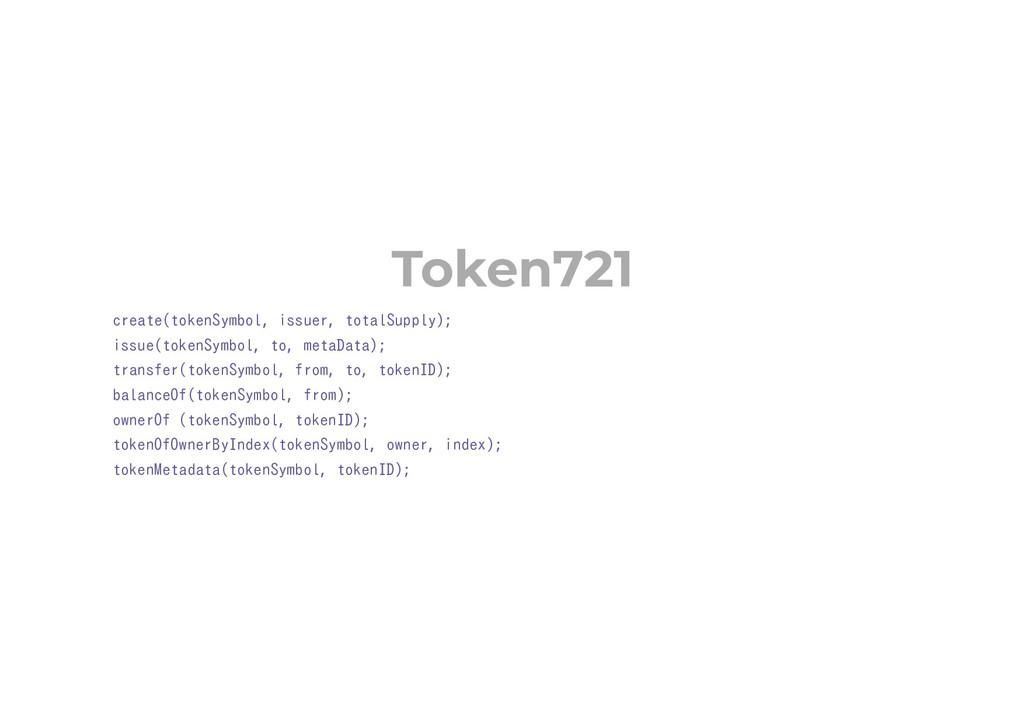 Token721 create(tokenSymbol, issuer, totalSuppl...
