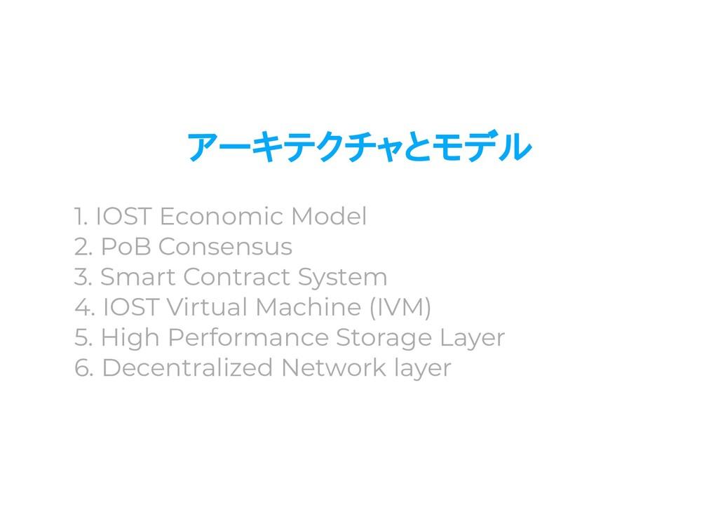 アーキテクチャとモデル 1. IOST Economic Model 2. PoB Conse...