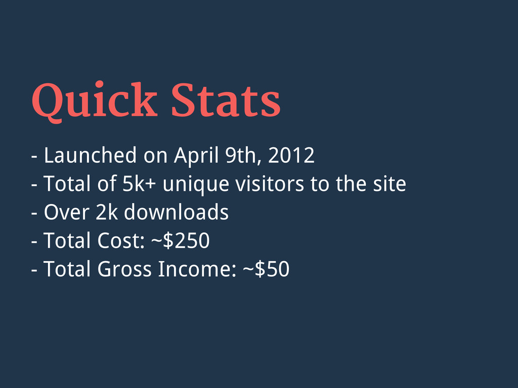 Quick Stats - Launched on April 9th, 2012 - Tot...