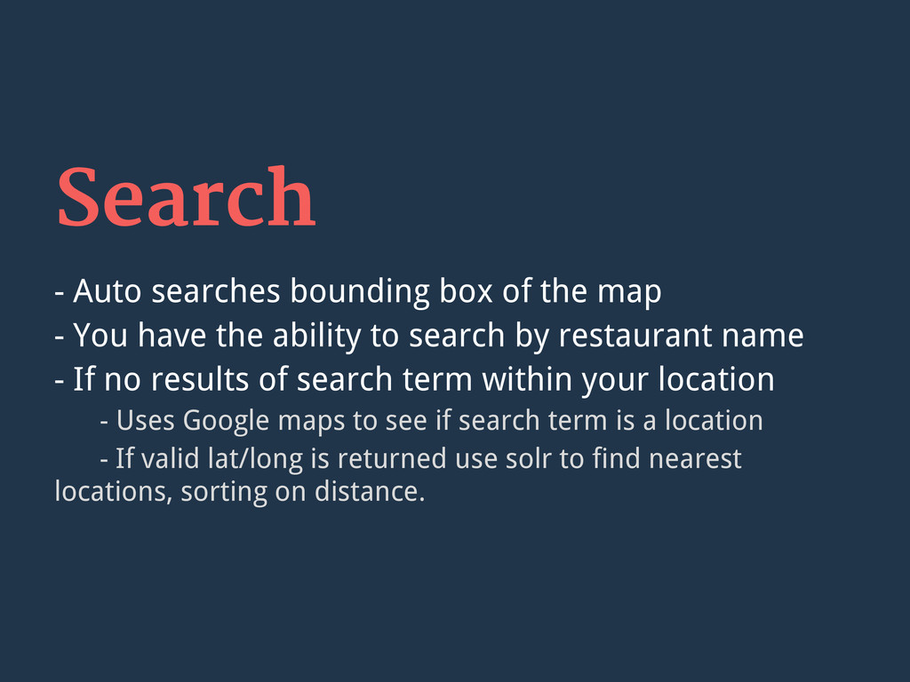 Search - Auto searches bounding box of the map ...