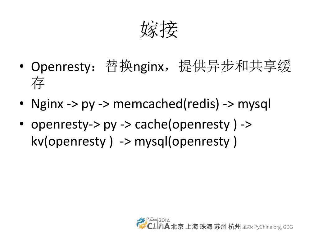 嫁接 • Openresty:替换nginx,提供异步和共享缓 存 • Nginx -> py...