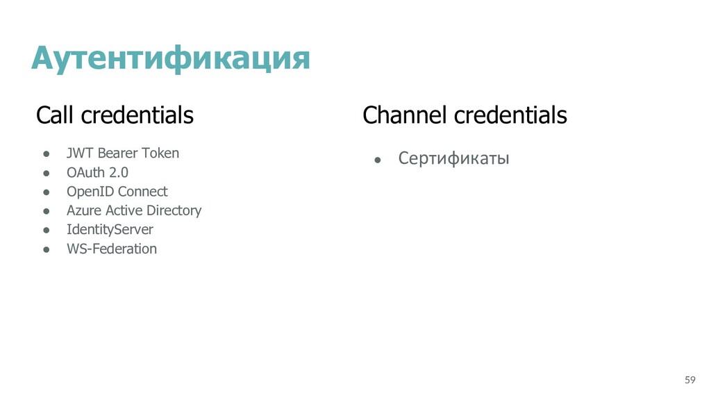 Аутентификация ● JWT Bearer Token ● OAuth 2.0 ●...
