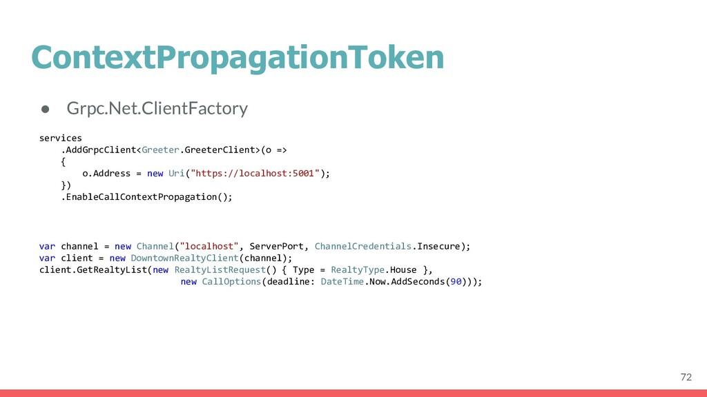 ContextPropagationToken ● Grpc.Net.ClientFactor...