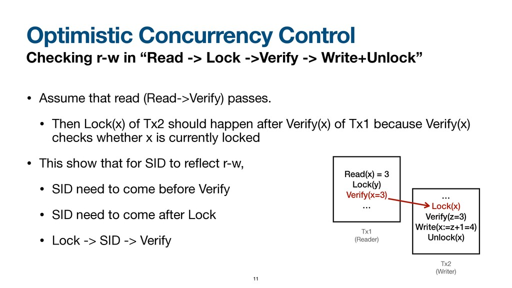 Optimistic Concurrency Control Checking r-w in ...