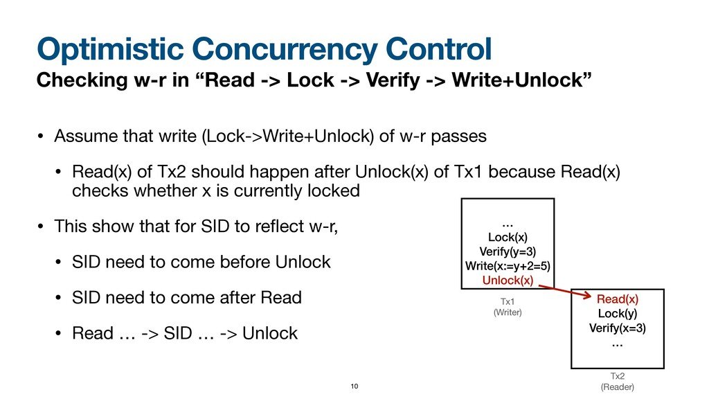 Optimistic Concurrency Control Checking w-r in ...