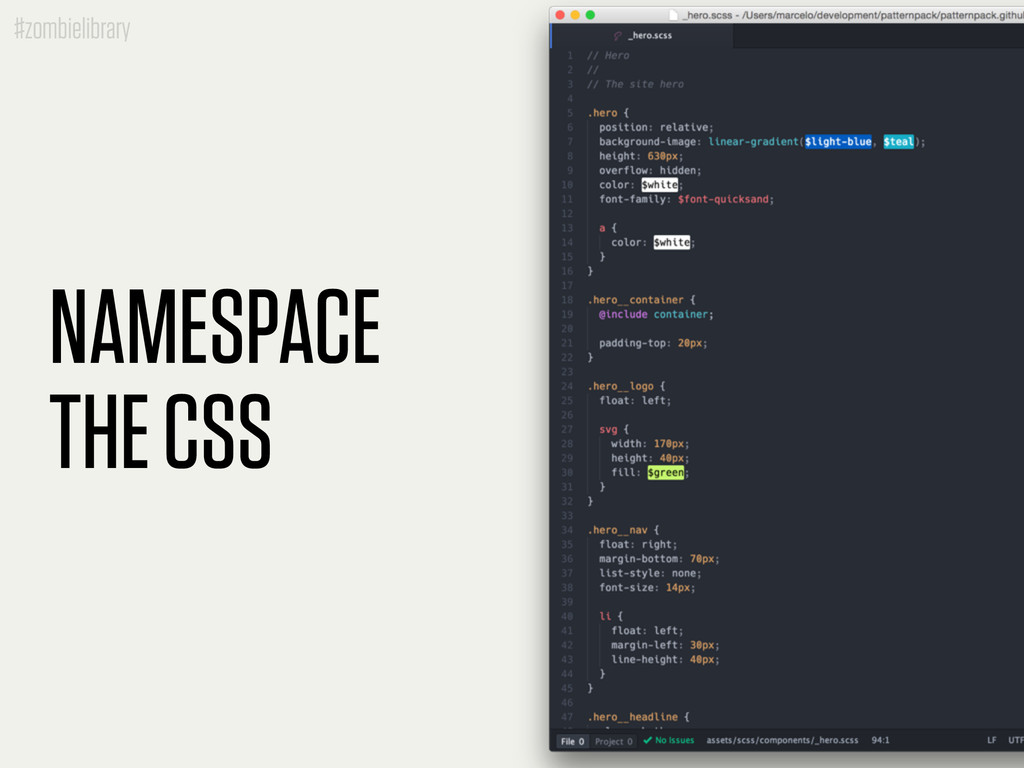 #zombielibrary NAMESPACE THE CSS