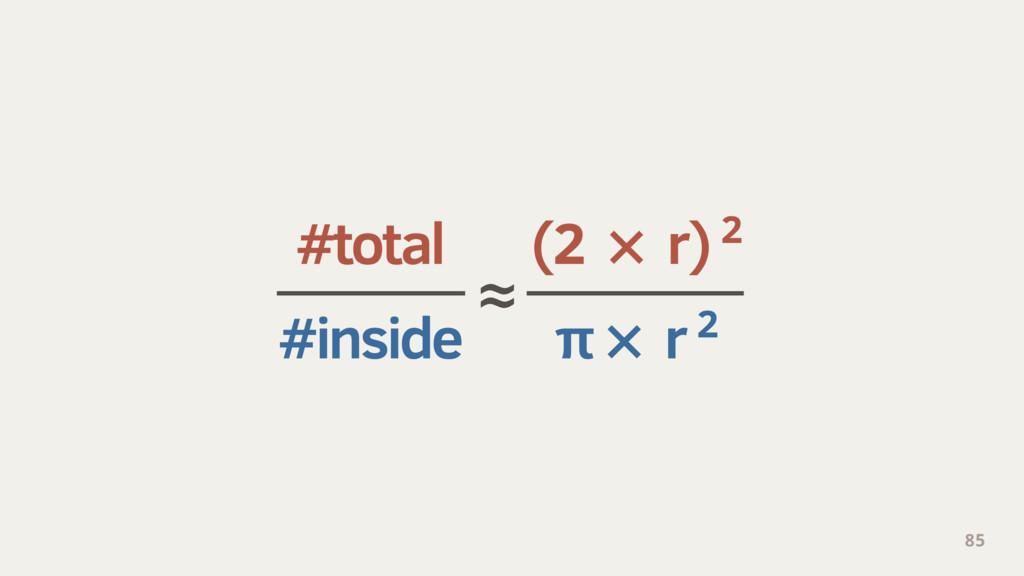 #total (2 × r) 2 #inside π × r 2 85 ≈