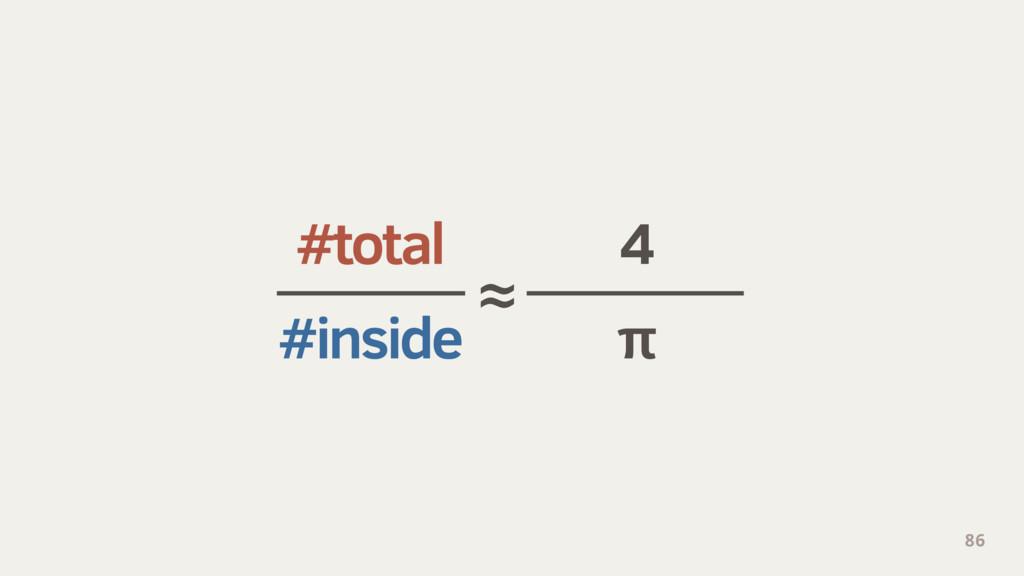 #total 4 #inside π 86 ≈