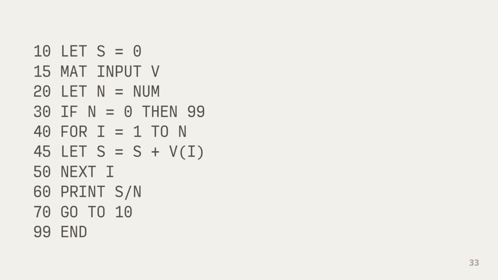 10 LET S = 0 15 MAT INPUT V 20 LET N = NUM 30 I...