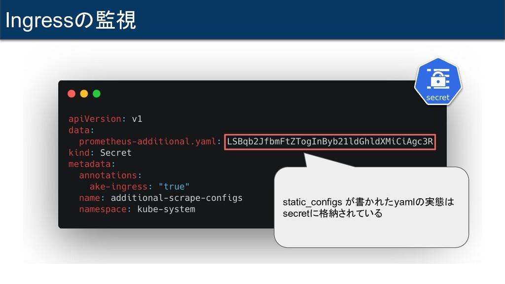 Ingressの監視 static_configs が書かれたyamlの実態は secretに...