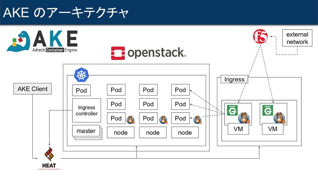AKE のアーキテクチャ AKE Client master node node node P...