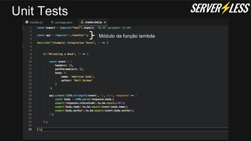 Unit Tests Módulo da função lambda