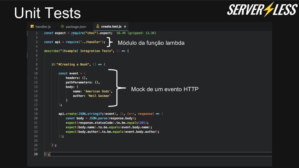 Unit Tests Módulo da função lambda Mock de um e...