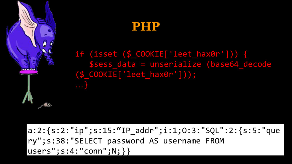 PHP if (isset ($_COOKIE['leet_hax0r'])) { $sess...