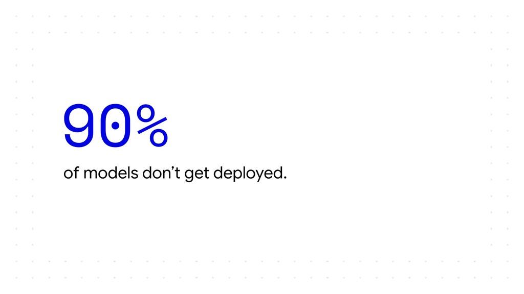 of models don't get deployed. 90%
