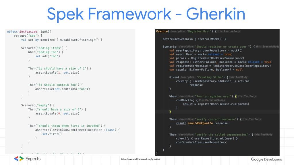 Spek Framework - Gherkin https://www.spekframew...