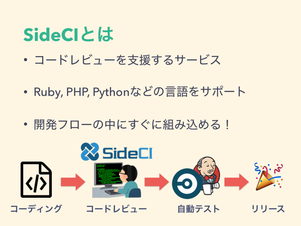 SideCIͱ • ίʔυϨϏϡʔΛࢧԉ͢ΔαʔϏε • Ruby, PHP, Python...