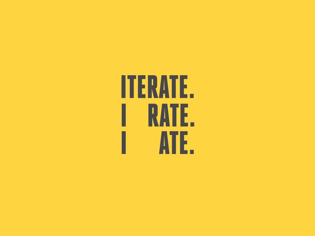 ITERATE. I RATE. I ATE.