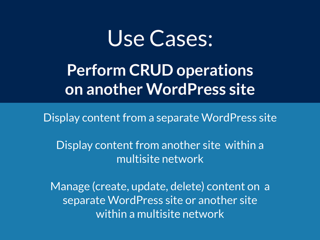 Use Cases: Perform CRUD operations  on another...