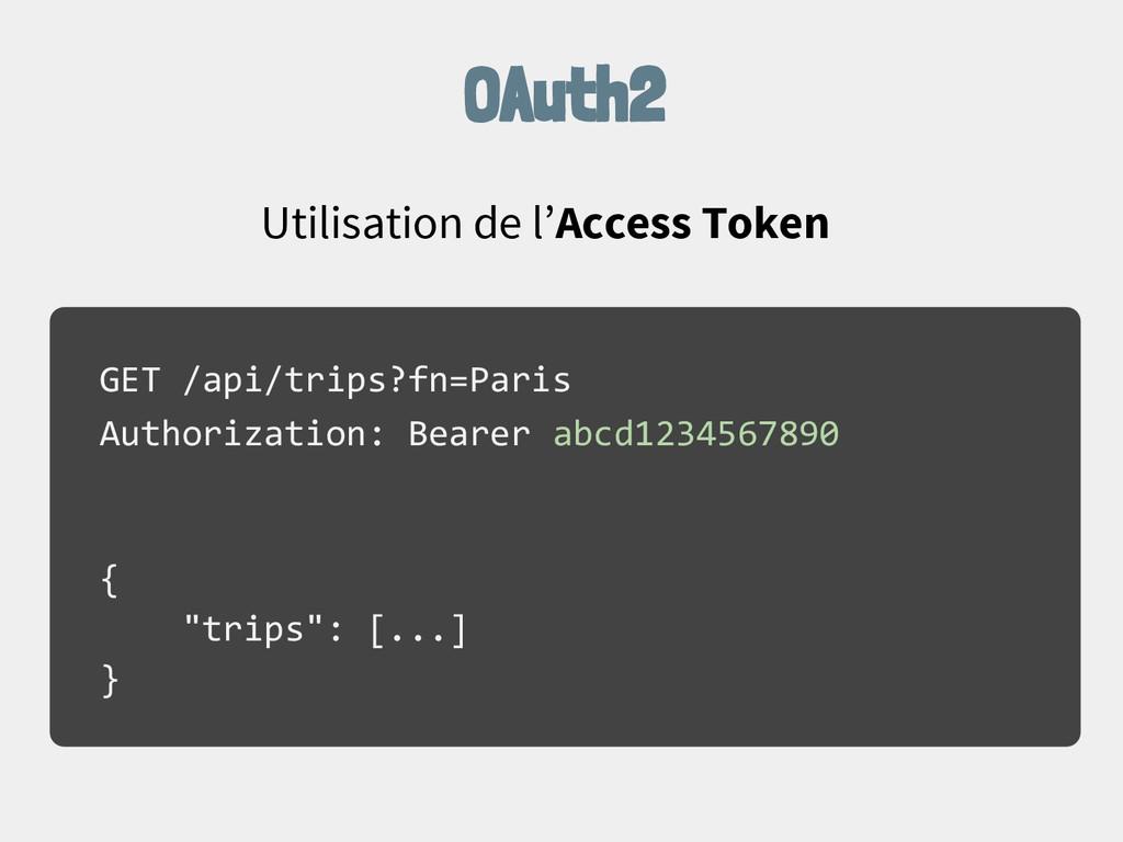 OAuth2 Utilisation de l'Access Token GET /api/t...