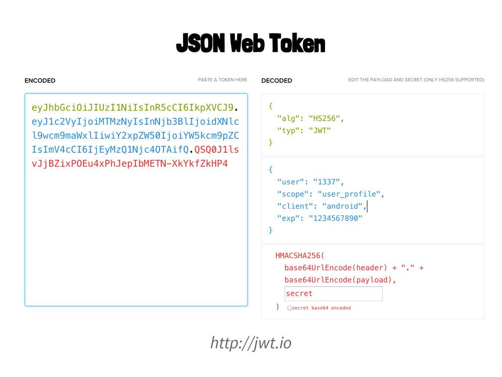 http://jwt.io JSON Web Token