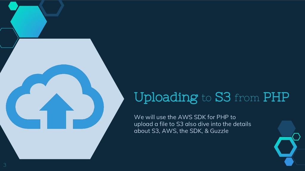 Uploading to S3 from PHP We will use the AWS SD...