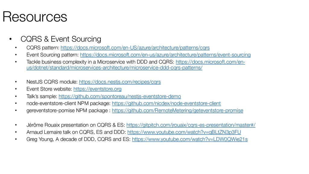 Resources • CQRS & Event Sourcing • CQRS patter...