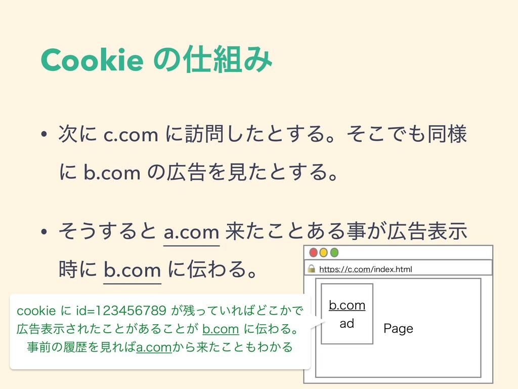 • ʹ c.com ʹ๚ͨ͠ͱ͢Δɻͦ͜Ͱಉ༷ ʹ b.com ͷࠂΛݟͨͱ͢Δɻ •...