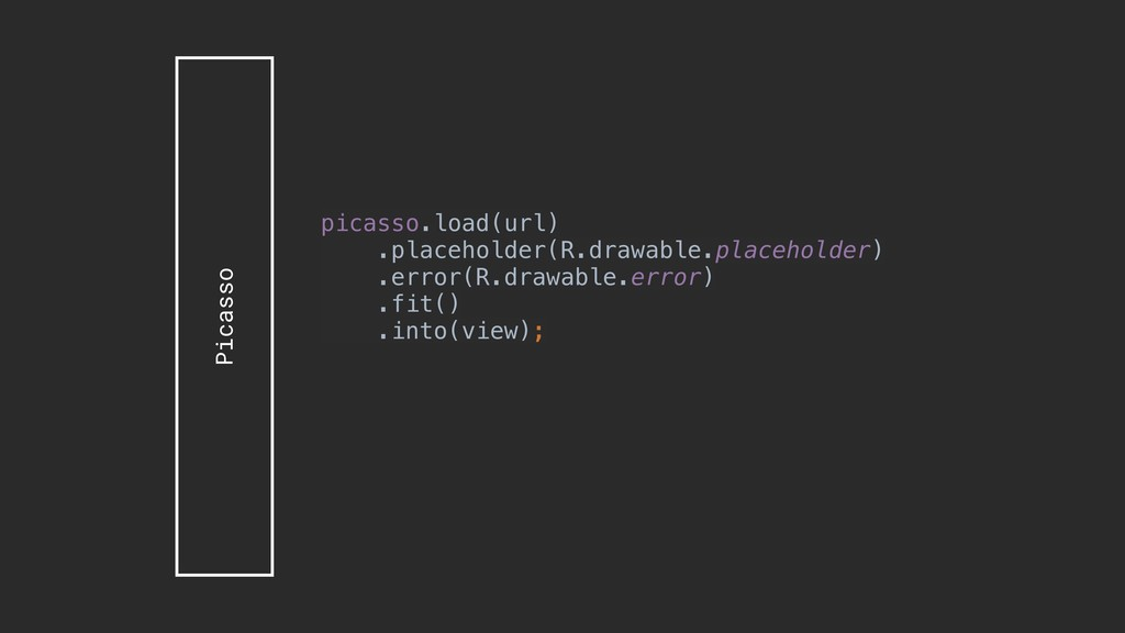 Picasso picasso.load(url) .placeholder(R.drawab...