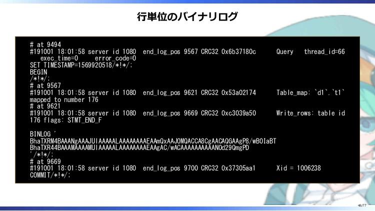 行単位のバイナリログ # at 9494 #191001 18:01:58 server id...
