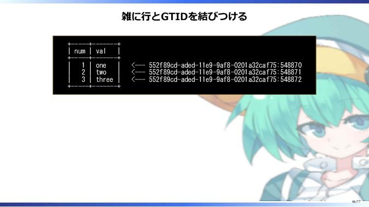 雑に行とGTIDを結びつける +-----+-------+   num   val   +-...