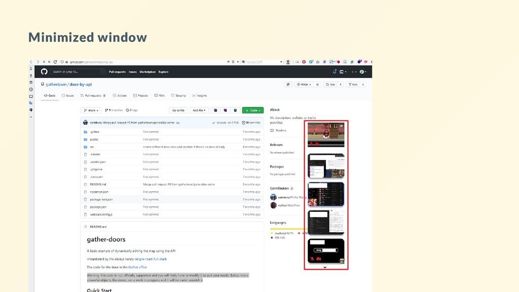 Minimized window