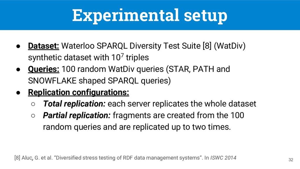Experimental setup ● Dataset: Waterloo SPARQL D...