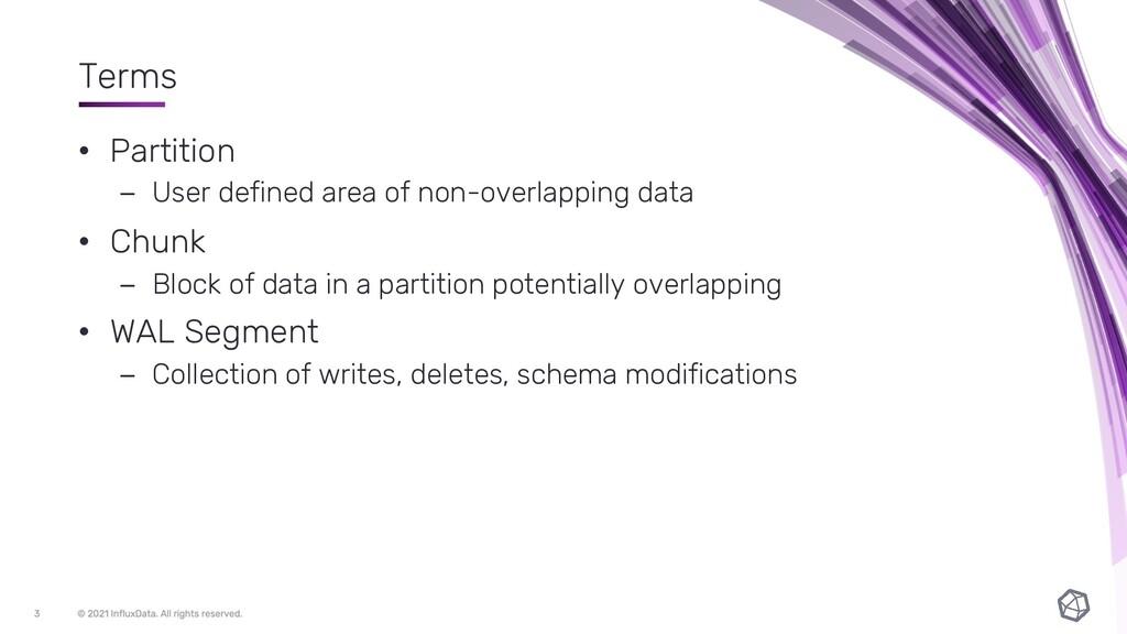 Terms • Partition – User defined area of non-ov...