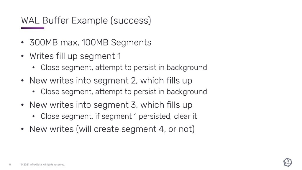 WAL Buffer Example (success) • 300MB max, 100MB...