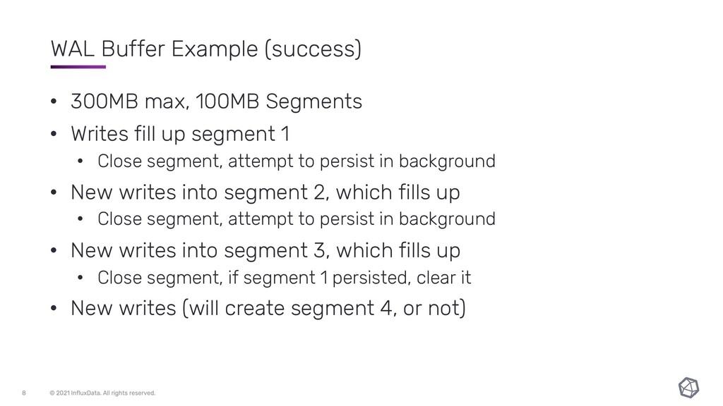 WAL Buffer Example (success) • 300MB max, 100MB...