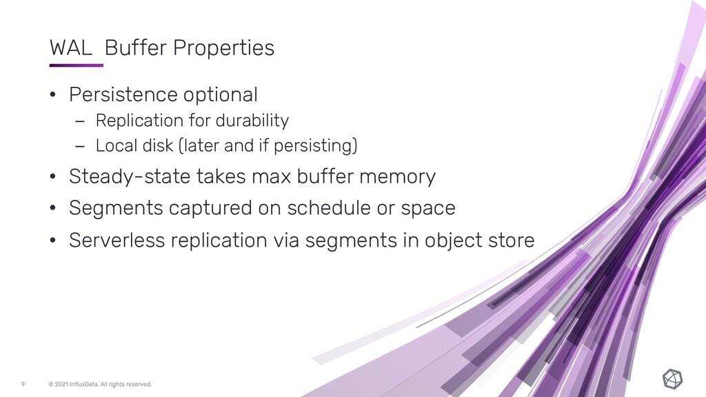 WAL Buffer Properties • Persistence optional – ...