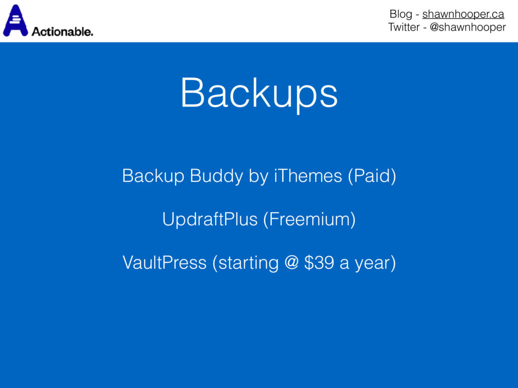 Backups Blog - shawnhooper.ca Twitter - @shawn...