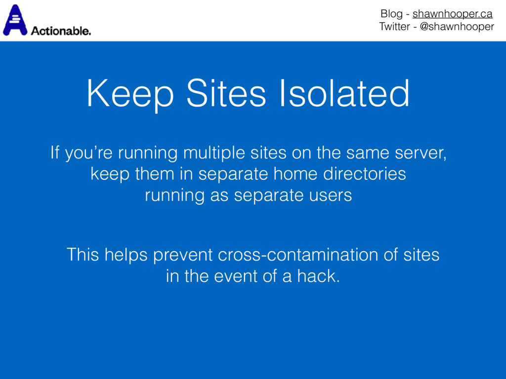 Keep Sites Isolated Blog - shawnhooper.ca Twit...
