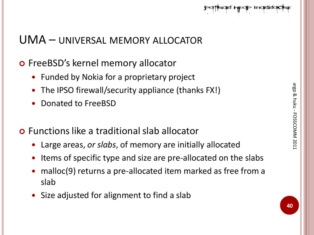 UMA – UNIVERSAL MEMORY ALLOCATOR 40 argp & huku...
