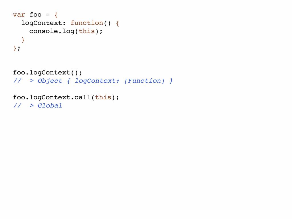 var foo = { logContext: function() { console.lo...