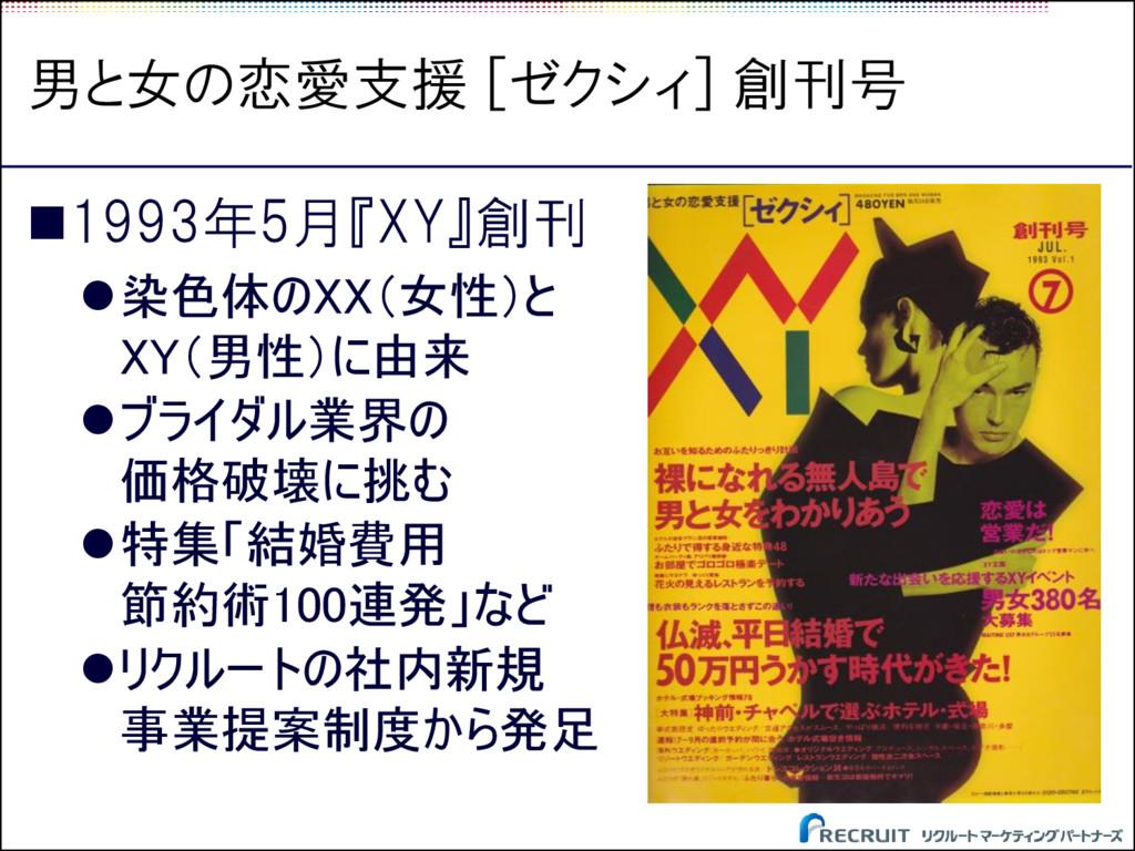 男と女の恋愛支援 [ゼクシィ] 創刊号 1993年5月『XY』創刊 染色体のXX(女性)と...