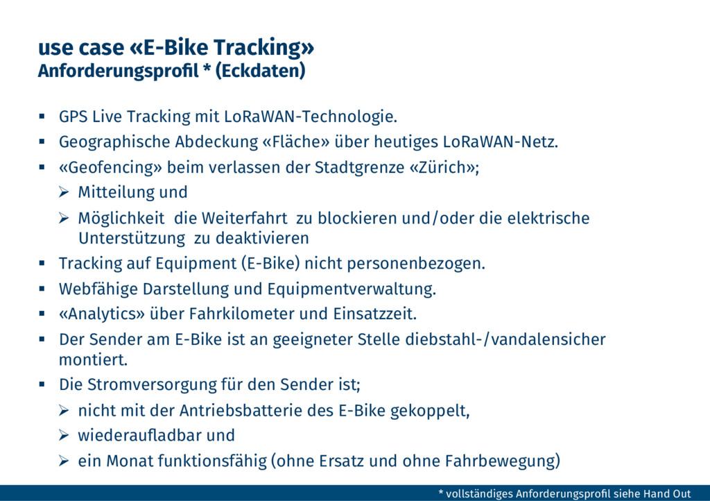 use case «E-Bike Tracking» Anforderungsprofil * ...
