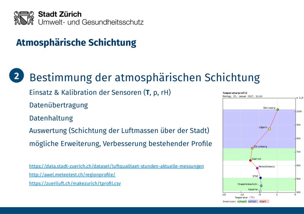 Atmosphärische Schichtung 1. Bestimmung der a...