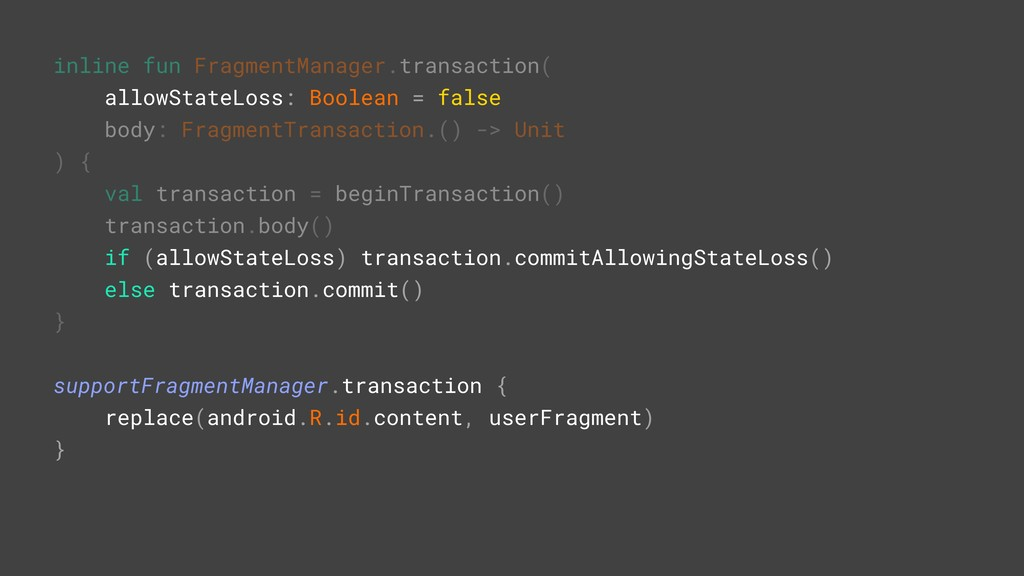 inline fun FragmentManager.transaction( allowSt...