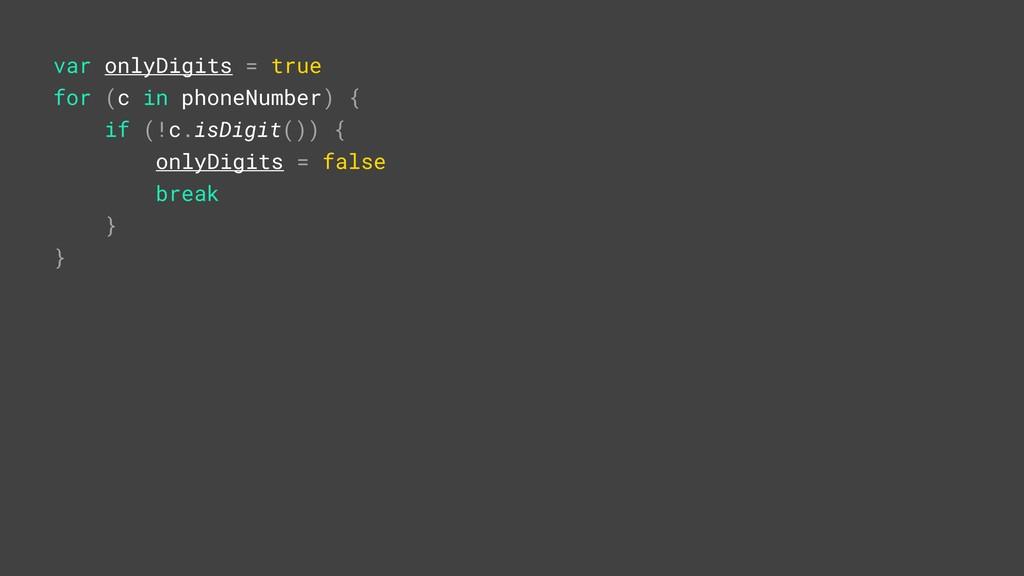 var onlyDigits = true for (c in phoneNumber) {A...