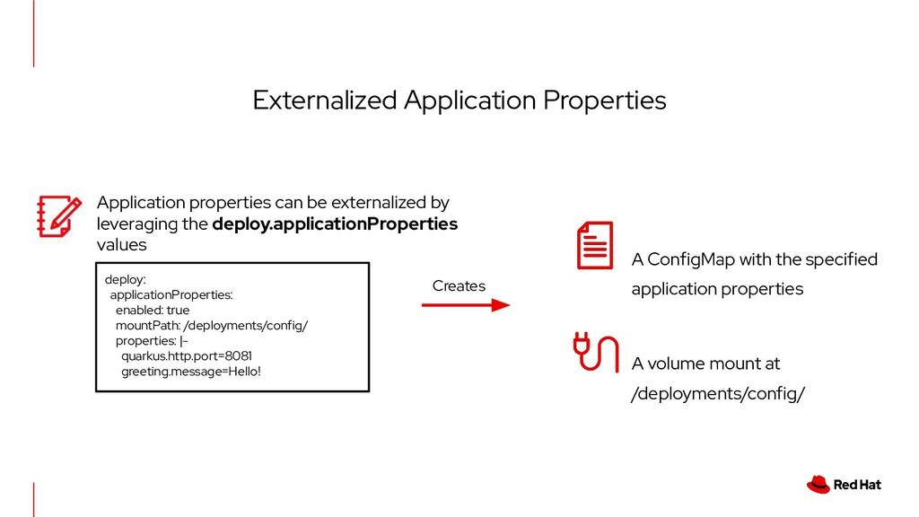 Externalized Application Properties deploy: app...