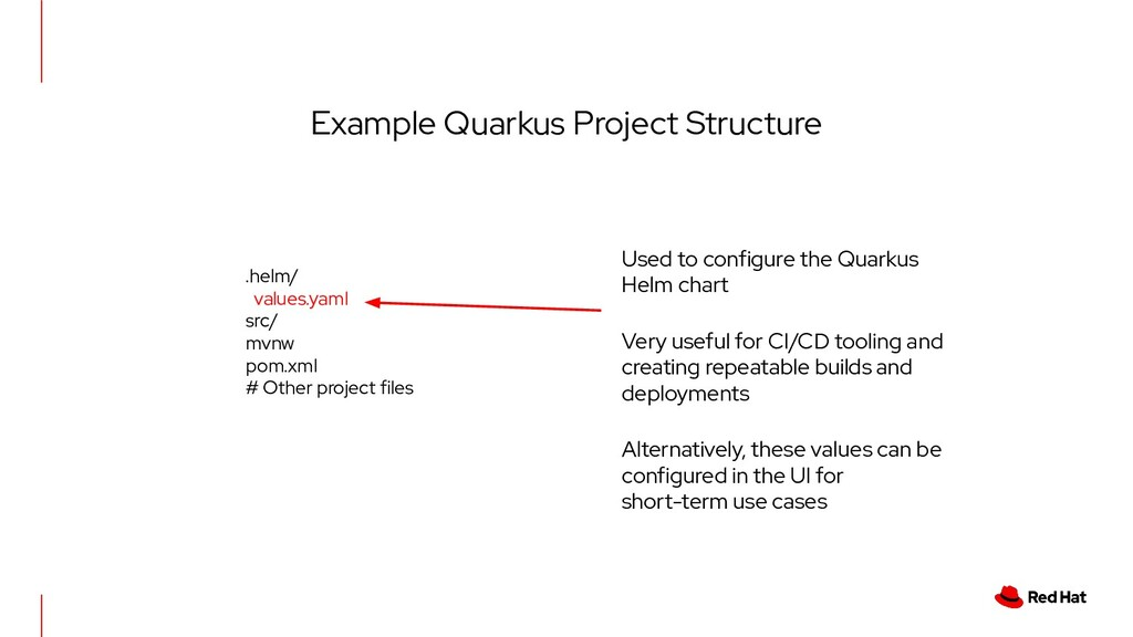 Example Quarkus Project Structure .helm/ values...